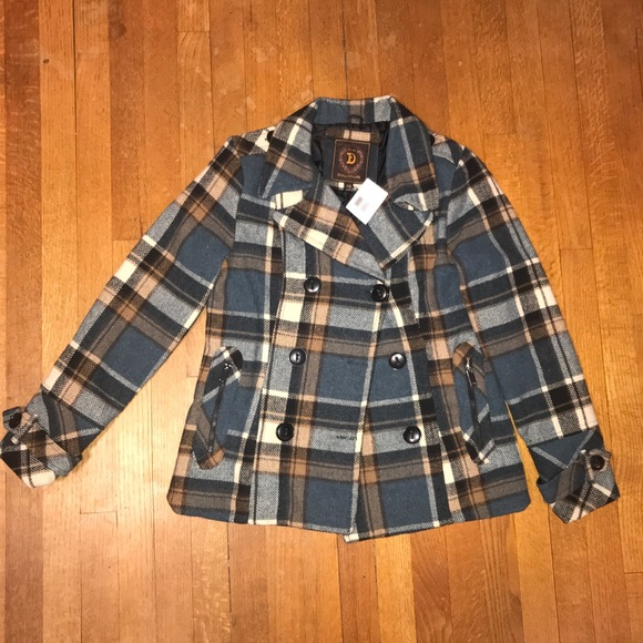 shop for luxury new product quality and quantity assured Plaid Blue and Brown Dollhouse Peacoat NWT